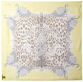 Roberto Cavalli Women's Patterned Silk Scarf, Yellow/Leopard Print