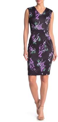 T Tahari Sleeveless V-Neck Floral Print Dress