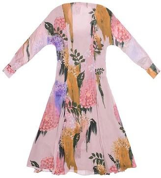 Tomcsanyi Margit Blurred Flower Print Open Back Tie Midi Dress