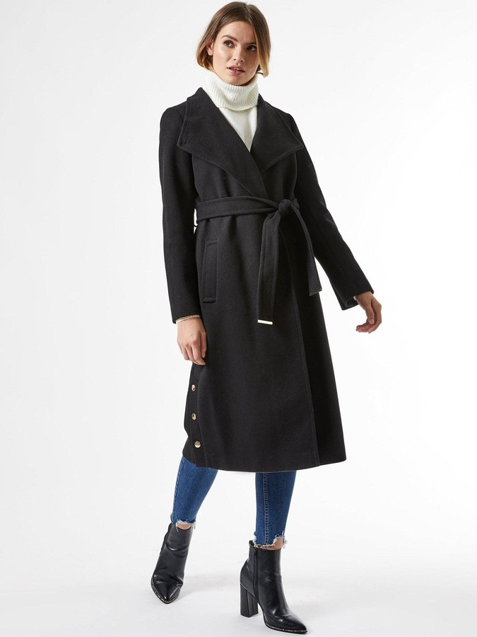 Thumbnail for your product : Dorothy Perkins GlossyFunnel Collar BeltedCoat -Black