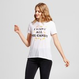 Modern Lux Women's I Want All The Candy Graphic T-Shirt White - Modern Lux (Juniors')
