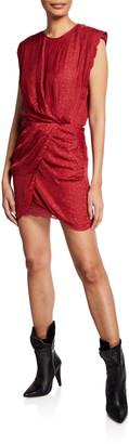 IRO Dedora Draped Jacquard Dress with Lace
