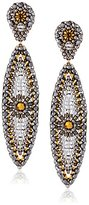 Miguel Ases Gold-Filled, Pyrite, and Swarovski Posted Marquis Drop Earrings