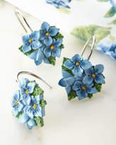 Lenox Blue Flower Garden Shower Curtain Hooks, Set of 12