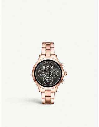 Michael Kors MKT5054 Runway rose-gold plated stainless steel smartwatch gift set