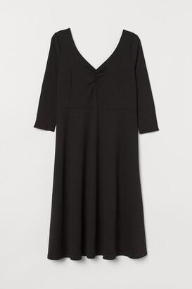 H&M H&M+ Ballerina-neckline Dress - Black