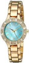 August Steiner Women's AS8135YGTQ Swarovski Crystal-Accented Gold-Tone Bracelet Watch