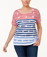 Karen Scott Plus Size Star-Print Striped Top, Created for Macy's