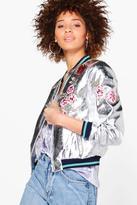 boohoo Elizabeth Metallic Embroidered Bomber Jacket silver
