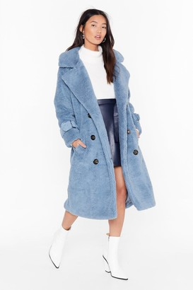 Nasty Gal Womens Are You Teddy Fur It Faux Shearling Longline Coat - blue - S/M