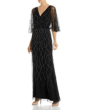 Adrianna Papell Beaded Flutter-Sleeve Gown - 100% Exclusive