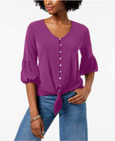 NY Collection Petite Tie-Front Bishop-Sleeve Top