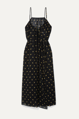Rixo Misty Floral-print Cotton And Silk-blend Crepon Wrap Midi Dress - Black