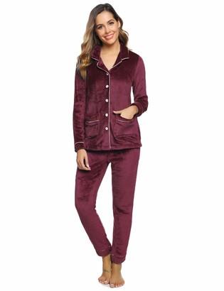 Aibrou Women's Pyjama Sets Long Sleeve Cotton Fleece Lounge Wear Button Down Nightwear PJ's Top & Bottoms for Woman Burgundy