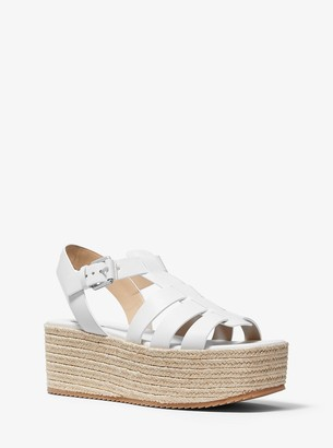 Michael Kors Rowling Leather and Jute Fisherman Sandal