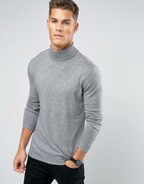 Pull&bear Muscle Fit Jumper With Roll Neck In Grey