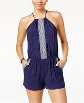 Amy Byer Juniors' Embroidered-Trim Romper