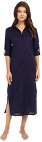 Yummie by Heather Thomson Cotton Voile Mandarin Button Down Dress w/ Side Vents