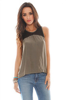 Feel The Piece Button Back Tank in Army/Black