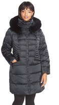 1 Madison Plus Size Women's Down & Feather Fill Coat With Genuine Fox Fur Trim