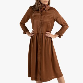 La Redoute Collections Button-Through Midi Shirt Dress with Long Sleeves