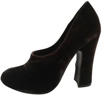 Prada Brown Velvet Heels