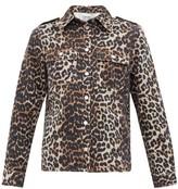 Ganni Leopard-print Cotton-denim Shirt - Womens - Leopard