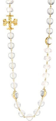 Tory Burch Clear Bead & Goldtone Logo Station Long Necklace