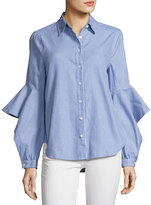 BCBGMAXAZRIA Thelma Striped Ruffle-Sleeve Shirt, Bluette