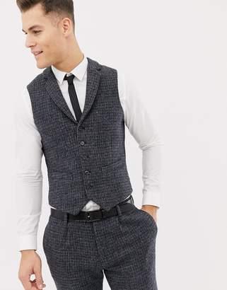 Asos Design DESIGN wedding slim suit waistcoats in 100% wool Harris Tweed blue micro check