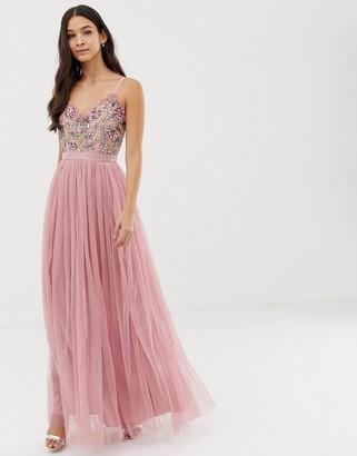Maya cami strap contrast embellished top tulle detail maxi dress in vintage rose-Pink