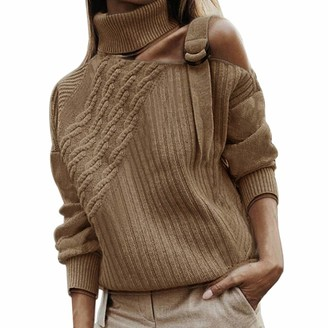 MoneRffi Womens Sexy Off Shoulder Ribbed Knitted Sweater Autumn Warm Turtleneck Pullover Long Sleeve Tops