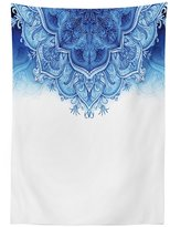 vipsung Moroccan Decor Tablecloth Floral Artwork Vintage Islamic Architectural Decorative Elements Oriental Pattern Print Dining Room Kitchen Rectangular Table Cover Blue White