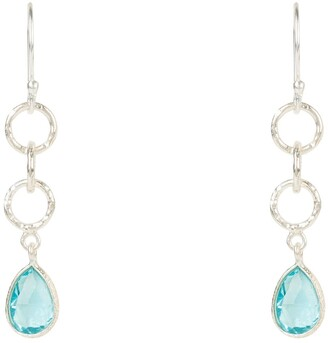 Latelita Linked Gemstone Drop Earring Silver Blue Topaz