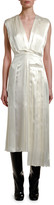 Marni Pleated Satin V-Neck Midi Dress