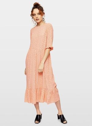 Miss Selfridge Coral Sophie Spot Print Smock Midi Dress