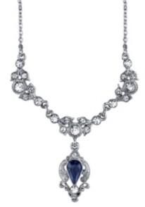 "Downton Abbey Silver-Tone Blue Color and Crystal Belle Epoch Drop Necklace 16"" Adjustable"
