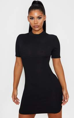 PrettyLittleThing Nude High Neck Under Bust Detail Bodycon Dress