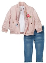 Hudson Puffer Jacket, Slub Jersey Top, & Jegging Set (Baby Girls)