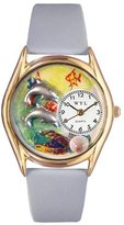 Whimsical Watches Kids' C0140007 Classic Gold Dolphin Light Blue Leather And Goldtone Watch