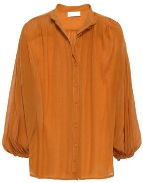 Zimmermann Wayfarer Gathered Cotton And Silk-blend Shirt