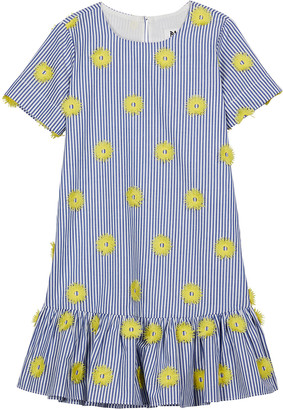 Milly Girl's Pompom Striped Drop-Waist Dress, Size 7-16
