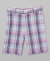 E-Land Kids Pink Plaid Shorts - Boys