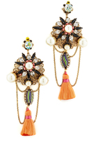 Erickson Beamon Imitation Pearl Safari Tassel Earrings