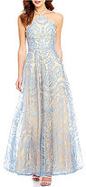Xtraordinary Y-Neck Scroll Embroidered Beaded Strappy Back Long Dress