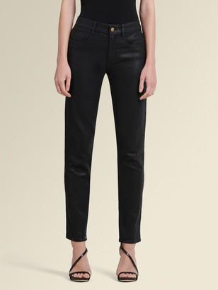 DKNY Donna Karan Women's Coated Skinny Pant With Back Slits - Black - Size 25