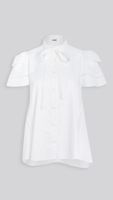 Adam Lippes Trapeze Top with Embroidered Trim In Cotton Shirting