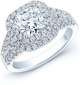 Ice 2 4/5 CT TW Diamond 18K White Gold Double Halo Engagement Ring with AGS Certification