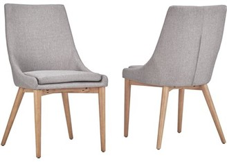 Weston Home Chelsea Lane Mid-Century Modern Linen and Oak Dining Chairs, Set of 2, Twilight Blue
