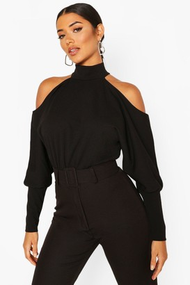 boohoo Crepe Cold Shoulder Top